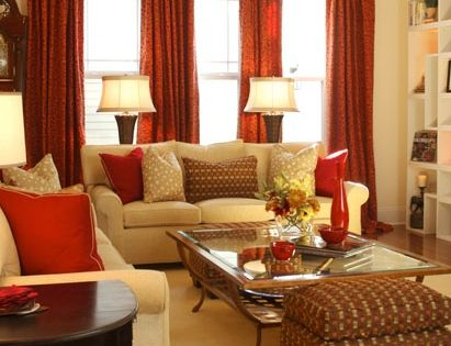 Gold And Red Living Room With Puzzle Shelving Decorating