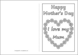 Mother S Day Card Colouring Templates Sb4359 Sparklebox Mothers Day Card Template Mothers Day Crafts For Kids Mother S Day Colors