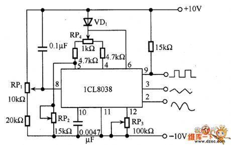 Function generator circuit diagram with ICL8038   Electronic