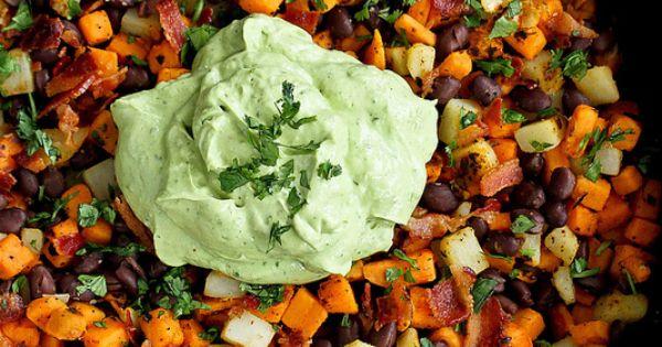 Bacon And Sweet Potato Hash With Avocado Cream Recipe — Dishmaps
