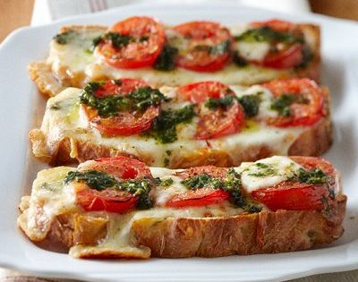 Fast fix Caprese pizza toast. With a salad it's perfect for a