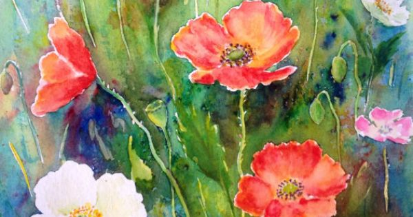 Original watercolour painting poppies watercolor a4 flower ...