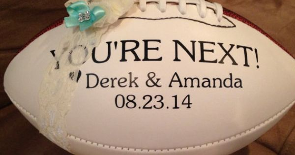 Personalized Football Garter Toss. ... I suppose I shouldn't do this in