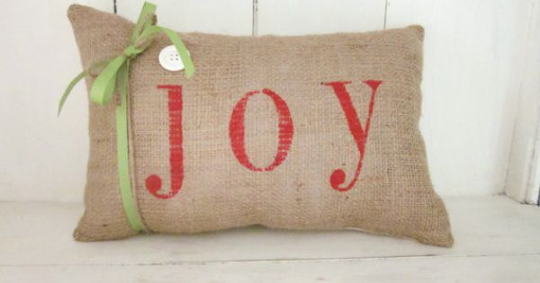 Shabby Chic Christmas Pillows : Christmas pillow, merry christmas, joy, shabby chic, farmhouse decor, burlap pillow, holiday ...