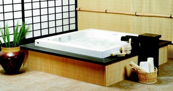 So Many Of These Are So Awesome Japanese Bathroom Design Japanese Bathroom Square Bathtub Japanese style bathroom wood slabs
