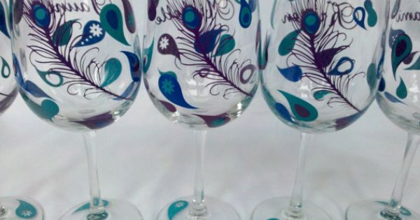 Peacock wine glasses, 3 Bridesmaid wine glasses for wedding party, teal purple
