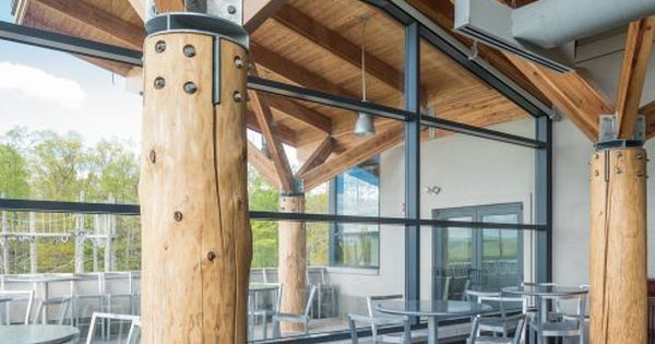 Timber Poles With Steel Joinery Timber Architecture Timber Roof Timber Buildings