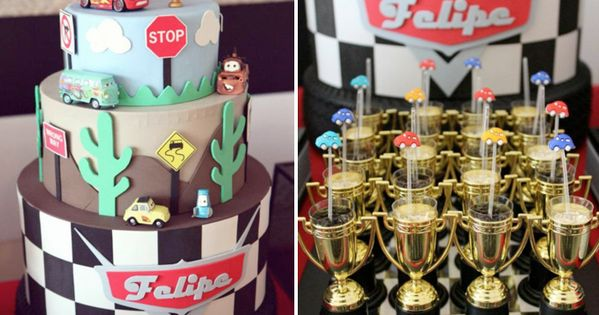 Food in trophys. Disney Cars Cake by Chic & Sweet Party Design