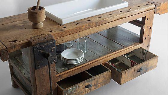 vintage k chenm bel olmo table von manoteca via. Black Bedroom Furniture Sets. Home Design Ideas