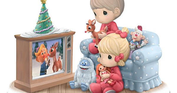 Limited edition! Handcrafted bisque porcelain Precious Moments® figurine celebrates watching Rudolph the