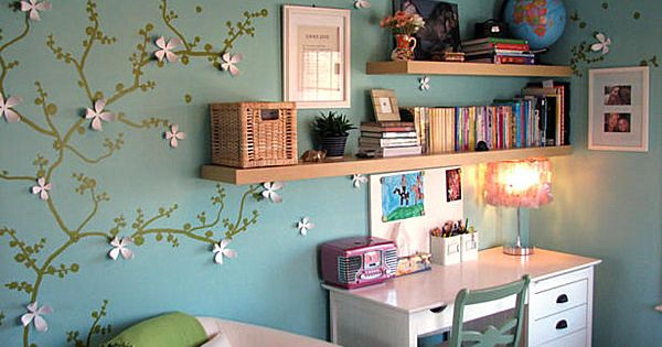 Study area for teen - love the floral wall art!