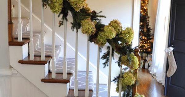 Dried Hydrangea in Christmas Garland!! By Dear Lillie.