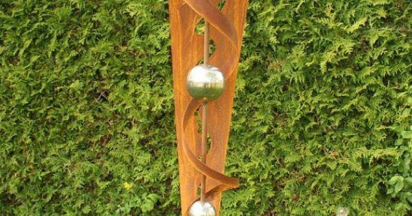 Gartendeko garten skulptur rost stecker mit von for Gartendeko rost stecker