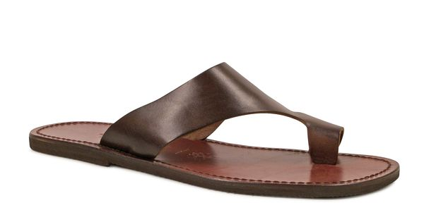 Brown leather thong sandals for men Handmade in Italy - Italian Boutique a?�68