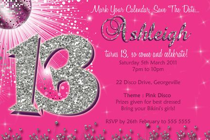 13th Birthday Invites Templates 13th Birthday Invitations Printable Birthday Invitations Girl Birthday Party Invitations