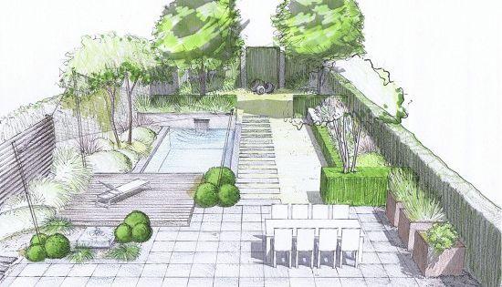 jardin de lotissement perspective arri re vue de l. Black Bedroom Furniture Sets. Home Design Ideas