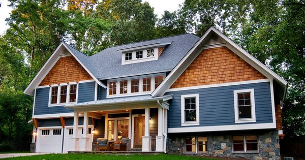 Cedar shake siding in exterior craftsman with blue lap for Cedar shake siding pros and cons