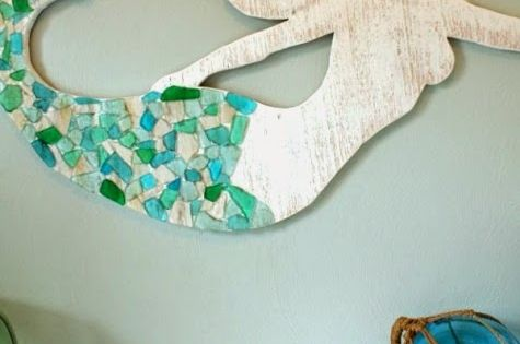 Sea glass and Cedar Mermaid Art