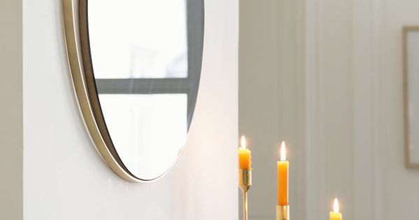 Miroir ellipse verre gris fum et cadre laiton red for Miroir fantaisie design