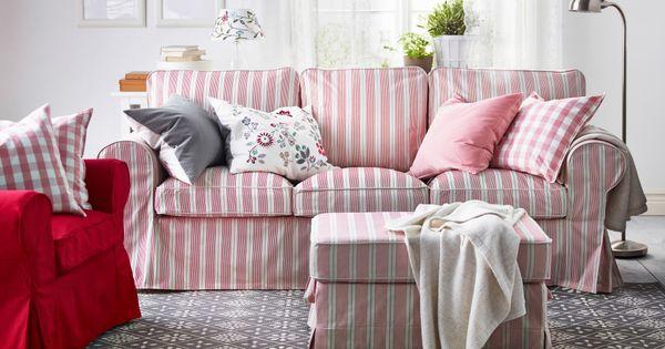 ein wohnzimmer u a eingerichtet mit ektorp bezug f r 3er sofa mobacka in beige rot und. Black Bedroom Furniture Sets. Home Design Ideas