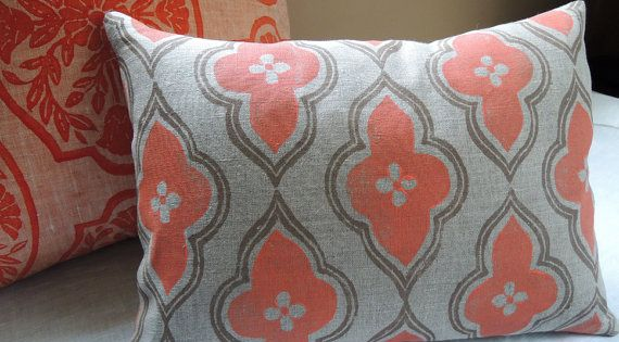 Coral and taupe ogee on your choice of color and size linen moroccan decorative home decor ...