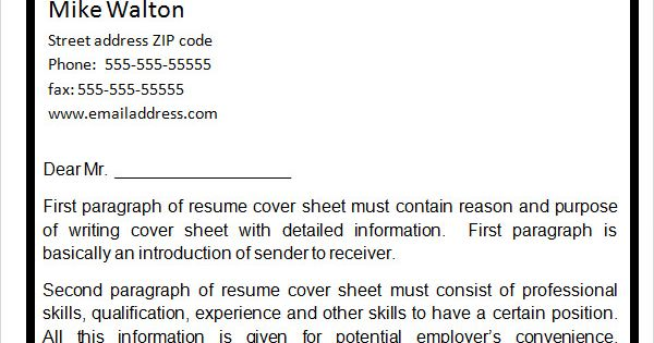 resume cover page sheet fax how make for Home Design Idea - resume cover sheet