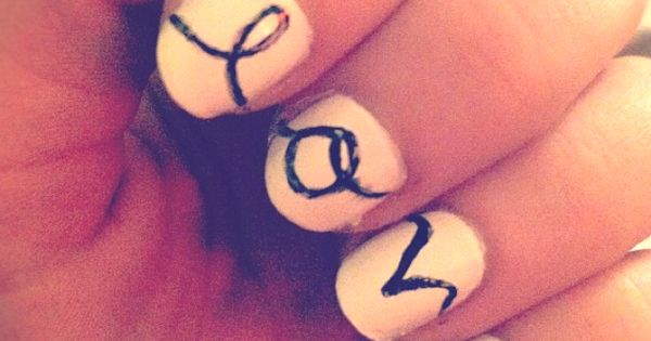 White and black handwritten love nail art. nails nailart manicure