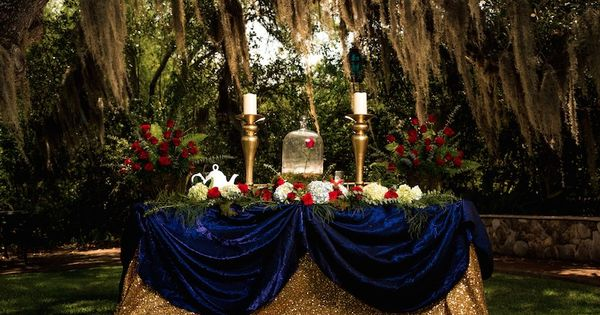 Beauty and the beast themed wedding central texas love for Beauty and beast table decorations