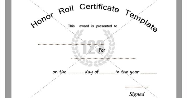 Free and premium honor roll certificate templates for B honor roll certificate template