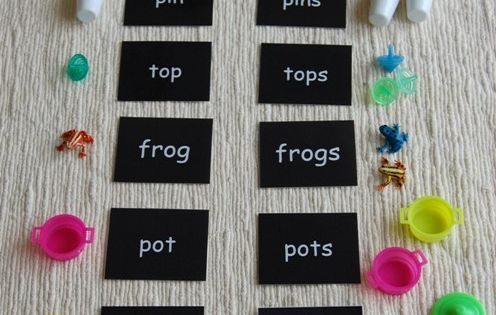 I used this in Montessori for singular/plural nouns. I had different words