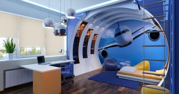 einrichtungsideen im kunderzimmer des jungen flugzeug deko wand, Schlafzimmer design