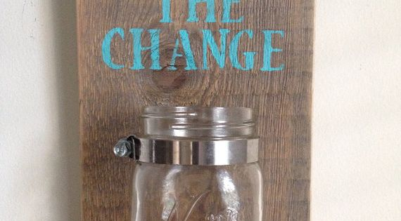 DIY Laundry room change mason jar.