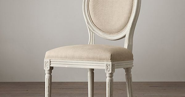 Distressed White Oak Dining Chairs: Distressed White Vintage French Round Side Chair