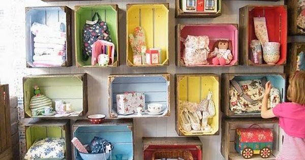 Kids Room Storage Tips Tricks Paint Boxes In Bright Colors And Hang Them From The Wall For A