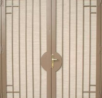 Security Screen Doors For Double Entry Patio Arcadia Or French Doors Double Doors Added To Your Grill Door Design Window Grill Design Security Door Design