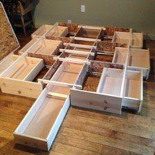 Best Queen Storage Bedframe New Pine 7 Drawer Diy Bed Diy Bed Frame Home Diy