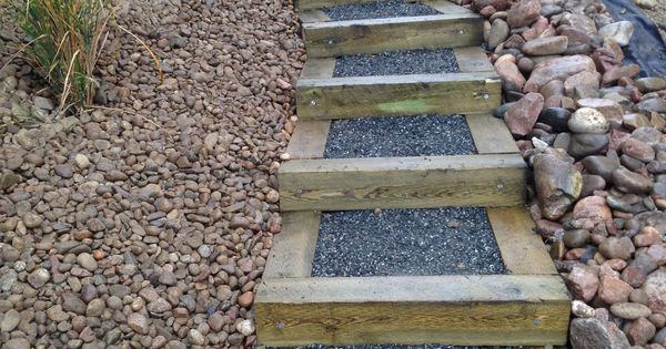 timber stairs on steep slope outdoor stairs diy pinterest