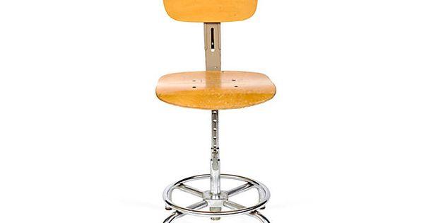 midcentury maple drafting stool