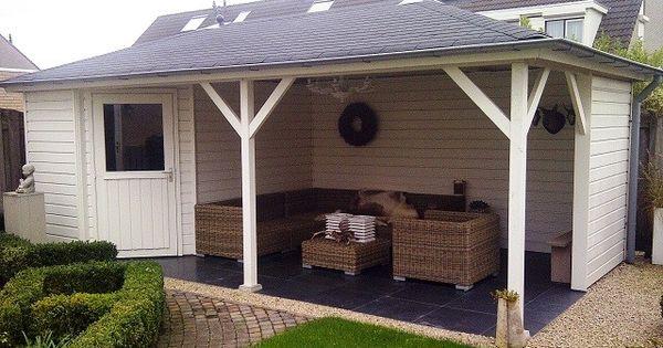 Tuinhuis met veranda mississippi 02 afmeting 6 5 x 3 5 meter afmetingen m x m - Deco tuinhuis ...