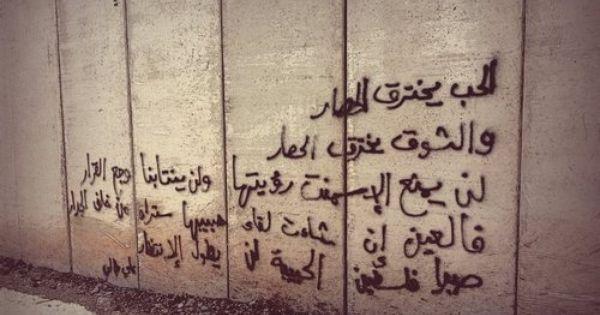 فالعين ان شاءت لقاء حبيبها ستراه من خلف الجدار صبرا فلسطين الحبيبة لن يطول الإنتظار Wall Writing Street Art Utopia Words