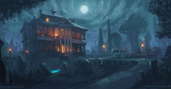Haunted By Jermilex Mansion Car Graveyard Moon Night H P