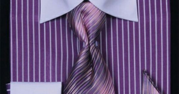 Daniel Elissa Purple Two Tone Striped Patterned Shirt with matching Tie, Handkerchief and Cufflinks.
