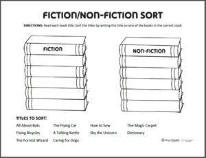 Free Printable Fiction Or Nonfiction Sort Fiction Vs Nonfiction