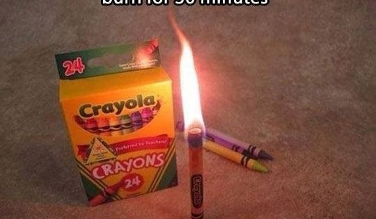 A crayon will burn for 30 minutes. Good idea in case of