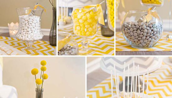 Grey and yellow chevron / neutral baby shower theme