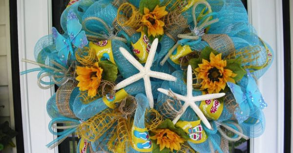 Beachy Days Deco Mesh Wreath with star fish and sunflowers