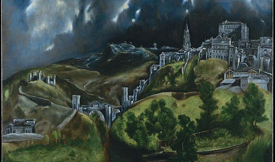 an analysis of el grecos landscape paintings Heaven (detail), el greco, burial of the count of orgaz, 1586–88, oil on canvas, 480 x 360 cm (santo tomé, toledo, spain) even though the celestial and earthly realms are divided, el greco.