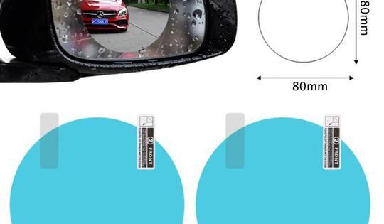2pcs Set Anti Fog Car Mirror Window Clear Film Anti Rain Car Rearview Mirror Protective Film Waterproof Rainproof Car Sticker Car Rear View Mirror Car Mirror Rear View Mirror