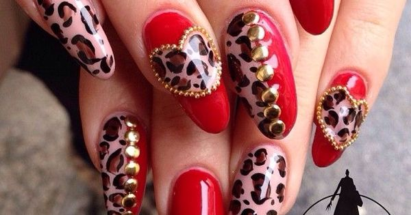 valentine day leopard nails