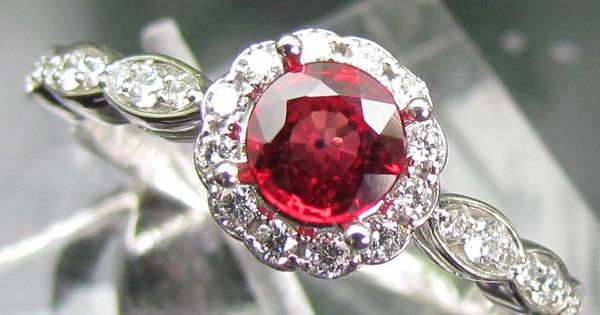 Ruby Engagement Ring In 14k Gold and Diamond Halo Setting Matching Band